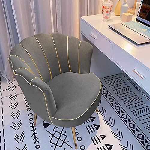 Creator-Z Silla tapizada sillón con Patas de Metal Dorado sillón Lounge salón Terciopelo,Gris