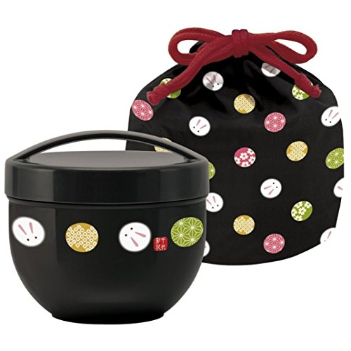 Japanese Bento Bowl 2 Tier Temari Rabbit 560ml (19oz) with Carrying Bag (BLACK) by Skater