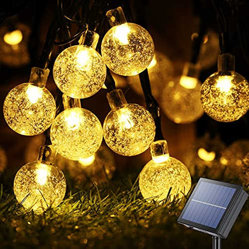Solar String Lights Outdoor 100LED 72ft Crystal Globe Lights Waterproof Solar Powered Patio Lights for Outdoor Garden Yard Porch Wedding Party Home Decor (Warm White)
