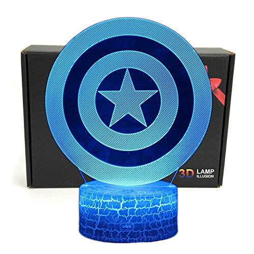 TriProC Led-Superheld-3D Optische Illusion Smart-7 Farben-Nachtlicht Tischlampe Mit Usb-Stromkabeln captain america