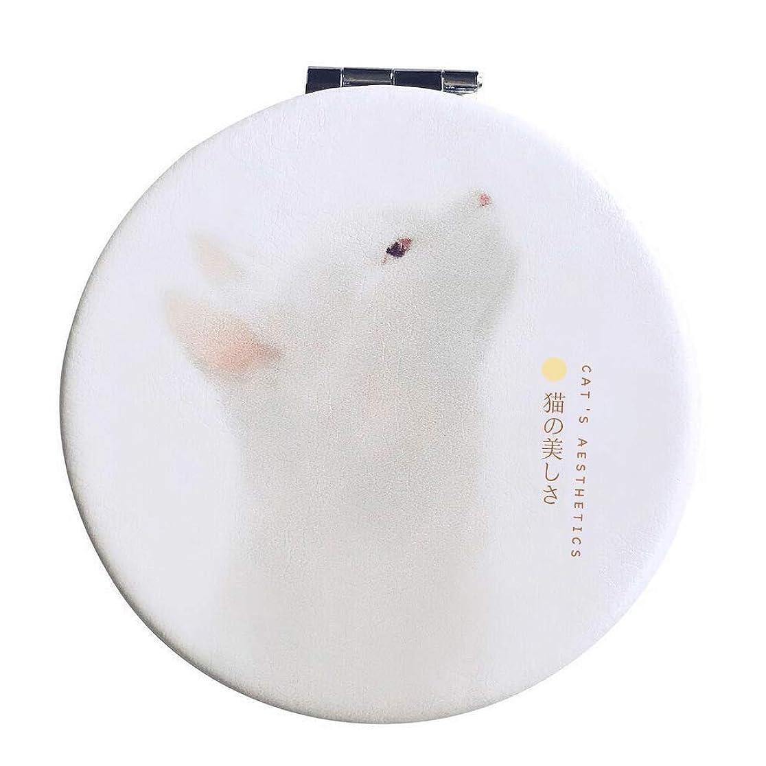 もちろん磁器ラベコンパクトミラー 手鏡 折りたたみ 割れない 3倍拡大鏡付き 猫 丸型