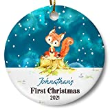 Personalized Baby's First Christmas 2021 Ornament, Newborn Gift, Woodland Holiday Keepsake for New...