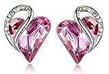 Leafael Infinity Aretes con forma de corazón de amor con cristal de piedra de nacimiento rosa turmalina rosa para octubre, regalos de...
