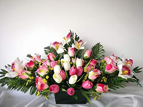 R/éalis/é par nos Soins roselynexpress Composition de Fleurs artificielles lest/é Ciment pour Une Parfaite Tenue /à l ext/érieur Fleurs de tr/ès Bonne qualit/é.