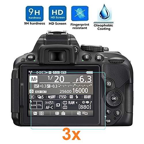 REY 3X Protector de Pantalla para Nikon D5300 - D5500 - D5600, Cristal Vidrio Templado Premium
