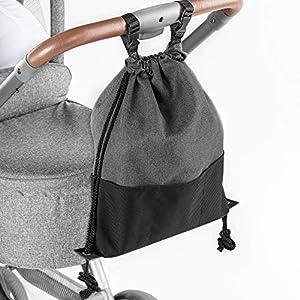 Zamboo Bolsa Ligera Silla de paseo - Bolso Panera Universal/Organizador Carrito con ganchos - Pequeño bolso cambiador/Mochila para pañales - Gris Negro Mochila para pañales - Gris Negro