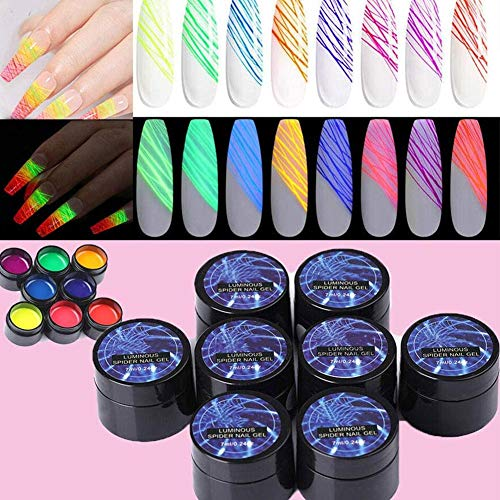 hook.s 8 Couleurs Spider Gel, Matrix Gel avec Gel Paint Design Nail Art Luminous Wire Drawing Gel, Soak Off UV LED DIY Manucure Nail Art Décoration