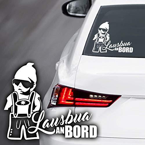 Lausbua an Bord Auto Aufkleber Baby Bayrischer Tiroler Steirer Bua on Board Kind Lederhose Autoaufkleber Sticker Lustiger Spruch