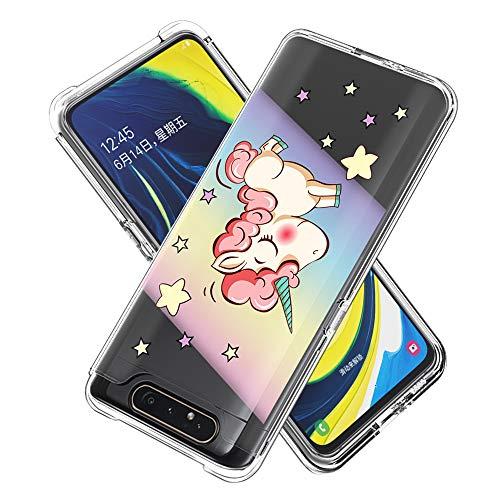 Miagon 2 in 1 Hart PC und Weich TPU Innere Durchsichtig Klar Hülle für Samsung Galaxy A80/90,Bunt Muster Anti Gelb Stoßfest Handyhülle Schutzhülle Bumper Case,Einhorn Regenbogen