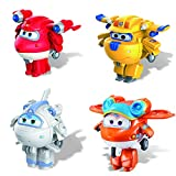 Super Wings - Transform-a-Bots | 4 Pack | Supercharged Donnie, Supercharged Jett, Supercharged Astra, & Sunny | 2'' Scale Action Figure | Fun Preschool Toy for 3 4 5 Year Old Boys and Girls
