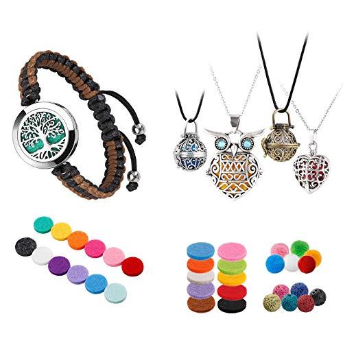 ttstar Essential Oil Diffuser Bracelet+4 PCS Classical Aromatherapy Essential Oil Diffuser Necklaces, Perfect Gift Set