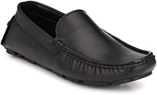 Levanse Black Synthetic Leather Driving Loafer Shoes for Men/Boys