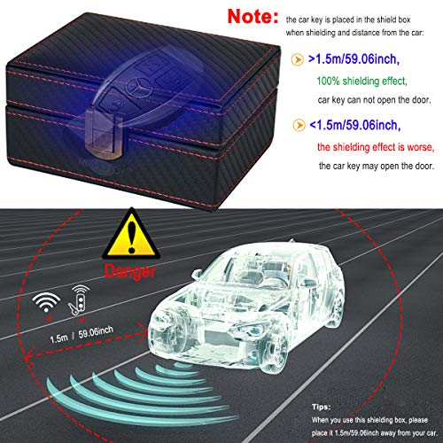 MONOJOY Faraday PU Leather Box Cage Anti Theft Car Keyless Signal Blocker Security RFID Faraday Key Fob Protector Prevent Your Key Fob from Being Scanned