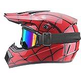 Casco Imitation Spider-Web, casco de motocross infantil – ECE 22.05, casco de moto Cross Set BMX Quad Enduro ATV Scooter con Goggle/Guantes (Lacquered,XS)