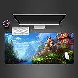 PKUOUFG Azul casa Paisaje Portátiles Alfombrilla de ratón (1200x600x856mm) Gaming Alfombrilla de ratón Alfombrilla de Escritorio Grande Alfombrilla de ratón Gaming y Office