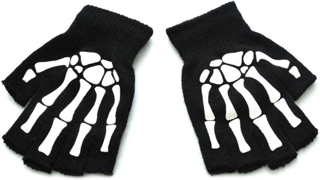 Kids Gloves for Halloween Cosplay Skeleton Half Finger Anti-Slip Glove Luminous Fingerless Mittens 5-12 Years Child