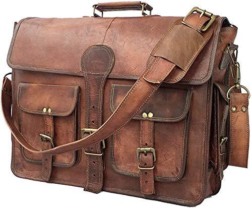Urban Leather 18 inch Vintage Handmade Leather Messenger Bag Laptop Briefcase Computer Shoulder Bag for Men Brown Brown 18 inch
