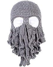 XINGX Stylish Unisex Knit Octopus Beanie Windproof Ski Mask Hat Cap,Octopus Shape Winter Warm Knit Beanie,Keep Face Warm