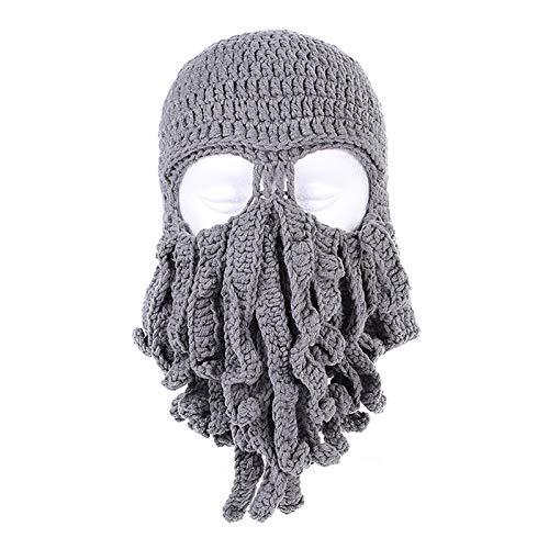 DYHF Bart Mütze Beanie Mütze Winter Warm Gestrickte Wolle Ski Gesichtsmaske Winddicht Lustig Octopus Hut für Damen & Herren