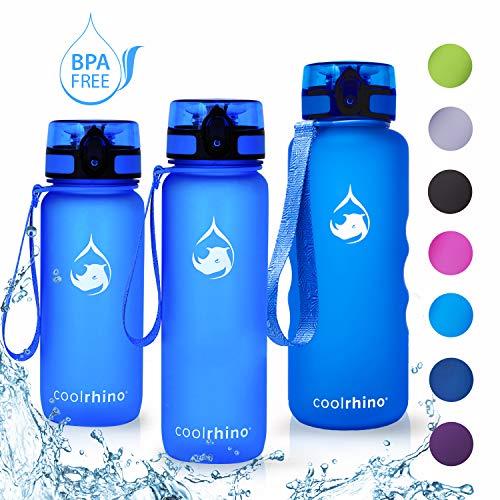 coolrhino Trinkflasche 1l für Sport, Outdoor, Schule, Fitness & Kinder - Wasserflasche auslaufsicher und Bpa frei - Flasche für Kohlensäure geeignet (Rhino Blue, 1000ml)