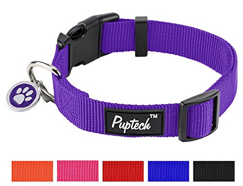 PUPTECK Nylon Puppy Adjustbale Collars Designer for Medium Small Dogs with ID Tag 12'-16'