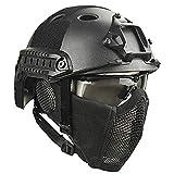QZY Airsoft Paintball Schutzhelm, Taktische Helme mit Stahlgitter Maske CS Spiel Set 8 Farbe,BK