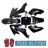 Black Plastic Fender Body Fairing & Red Kids Sports Gloves for Honda CRF50 XR50 Dirt Pit Bike Off-Road