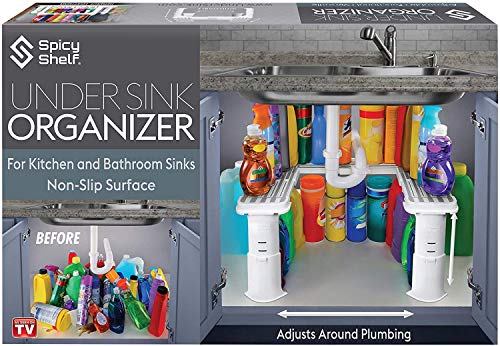 Expandable Under Sink Organizer and Storage I Bathroom Under the Sink Organizer Kitchen Under Sink Shelf I Cleaning Supplies Organizer Under Sink Storage I EXPANDABLE HEIGHT DEPTH amp WIDTH