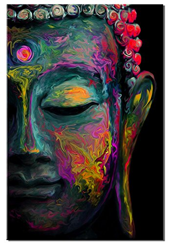 Buddha Wall Art Canvas Modern Coloured Drawing Canvas Print for Study Living Room Home Decorations Religion Painting Modern Lotus Murals Framed Decor Ready to Hang Stretched Artwork 24x36 Inch