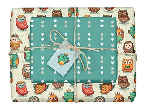 4x doppelseitiges Eulen-Geschenkpapier + 4x Geschenkanhänger für Kinder | Made in Germany | (Einzelbögen 42x59cm, DIN A2)