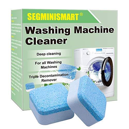 SEGMINISMART Nettoyeur de machine à laver, solide pour lave-linge, tablettes nettoyantes en profondeur avec triple décontamination pour salle de bain, cuisine