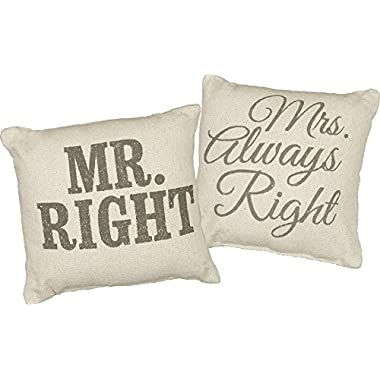 Primitives by Kathy Mr. & Mrs. Right Pillow (Set of 2) Accent Pillow, 10.25  x 10.25 , Neutral