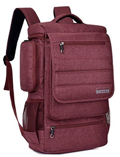 SOCKO Laptop Backpack 17.3 Inch Multifunctional Unisex Luggage Travel Bag Knapsack Water Resistant Rucksack Backpack Hiking Bag College Shoulder Backpack Fits Up to 17-17.3 Inch Laptop Computer, Red