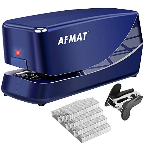 Electric Stapler, Heavy Duty Electric Stapler Desktop, 25 Sheets, AC or Battery Powered Automatic Stapler, with Reload Reminder & Release Button, Blue
