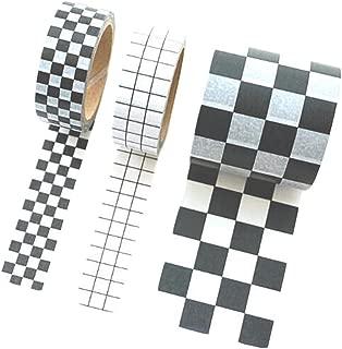 3 Rollos Patrón de cuadrícula en blanco y negro DIY Decorativo Álbum Diario Cinta decorativa Washi, 1.5 cm de ancho