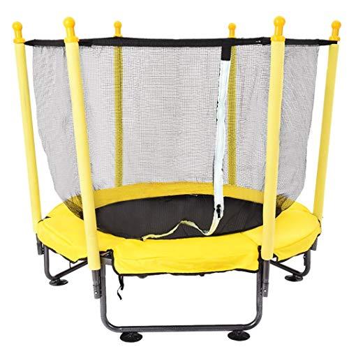 KRAUMETIK Cama elástica para niños de 50 pulgadas con cubierta de malla de salto y acolchado de resorte (amarillo)