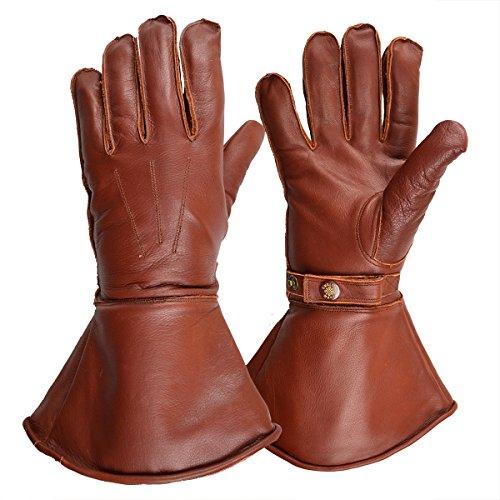 Goldtop Braun Leder Britischen Schafwolle Gefüttert Motorrad Versand Reiter Stulpen & Pilot Handschuhe