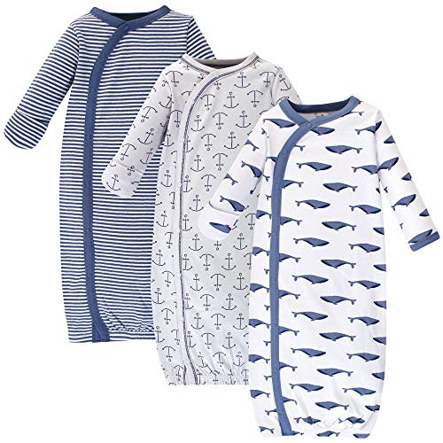 Touched by Nature Baby Organic Cotton Kimono Gowns, Blue Whale 3-Pack, Preemie/Newborn