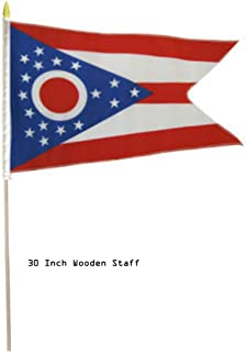 ALBATROS 12 in x 18 in (6 Pack) State of Ohio Stick Flag 30in with Wood Staff for Home and Parades, Official Party, All Weather Indoors Outdoors