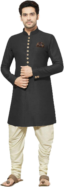 daindiashop-USA Exclusive Men Indian Sherwani Partywear Jodhpuri Suit Bhandgala Jacket Mehandi Prom Indo ICW3012-2