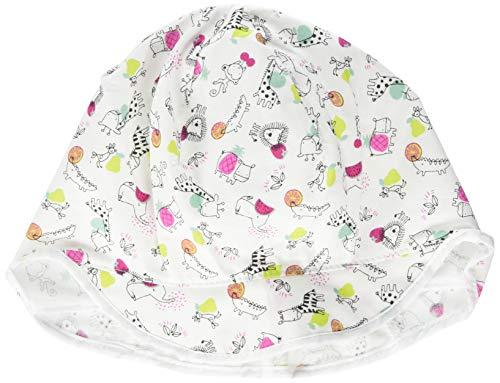 maximo Baby-Mädchen Schildmütze, Nackenschutz Mütze, Mehrfarbig (Weiss-Dark Pink-Kl. Tiere 11), 45
