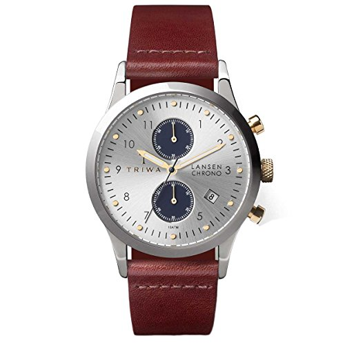 Triwa Unisex Erwachsene Chronograph Quarz Uhr mit Leder Armband LCST115-CL010313