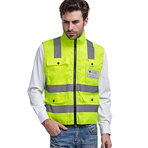 Babimax Gilet Réfléchissant de Travail Gilet de Sécurité T Shirt Haute Visibilité Respirant Pourpoint Gilet Signalisation Vêtement Luisant en Route sans Manche avec Pochettes Néon Jaune L