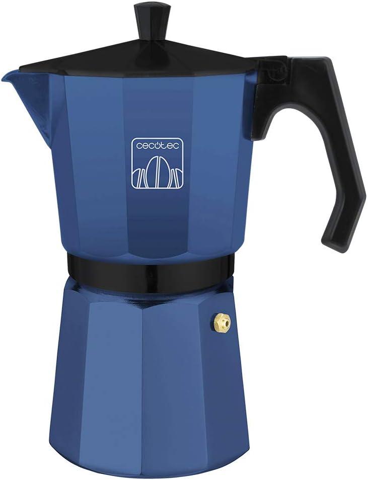 Cecotec cafetera Italiana MokClassic 600 Blue. Fabricada en Aluminio Fundido, Apta para Todo Tipo de cocinas, para 6 Tazas de café