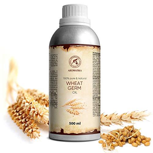 Weizenkeimöl 500 ml- Kaltgepresst und Raffiniert - 100% Reines Weizenkeim Öl - Triticum Vulgare Germ Oil - USA - Pflege für Gesicht - Körper - Haare - für Massage