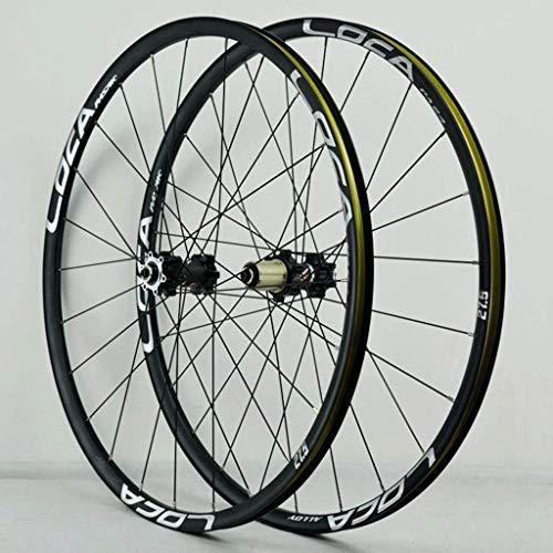 Juego de ruedas de bicicleta Freno de disco de 26 / 27.5 / 29 pulgadas Bicicleta de montaña Llanta de aluminio de doble pared Buje de casete QR 6 trinquetes 8-12 Rodamiento de velocidad sellada 24H