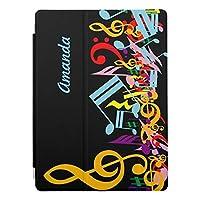 RECASO カラフル黒 乱雑な音楽ノート ipad pro 11インチ ケース ipad pro 11 ケース おしゃれ ipad pro 11インチ カバー 11インチipad pro