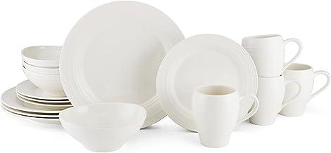 Mikasa Swirl White 16 Piece Dinnerware Set, Service for 4