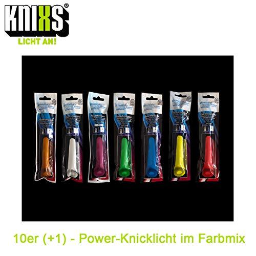 KNIXS - 10 + 1 Gartis Power Knicklichter, Super Farbmix, seit 15 Jahren in Profiqualität, deutsche Testnote: 1,6 / einzeln verpackt - 150 x 15 mm - für Party, Festival, Outdoor oder Notlicht