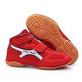 Willsky Botas De Boxeo, Muchacha del Muchacho De Lucha del Combate Los Zapatos Deportivos Zapatos para Niños Suela De Goma De Artes Marciales Tamaño Fresco,Rojo,33